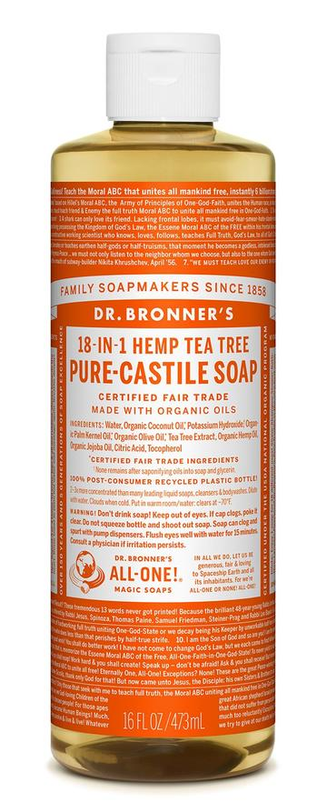DR. BRONNERS CASTILE LIQUID SOAPS   Tea Tree 473ml