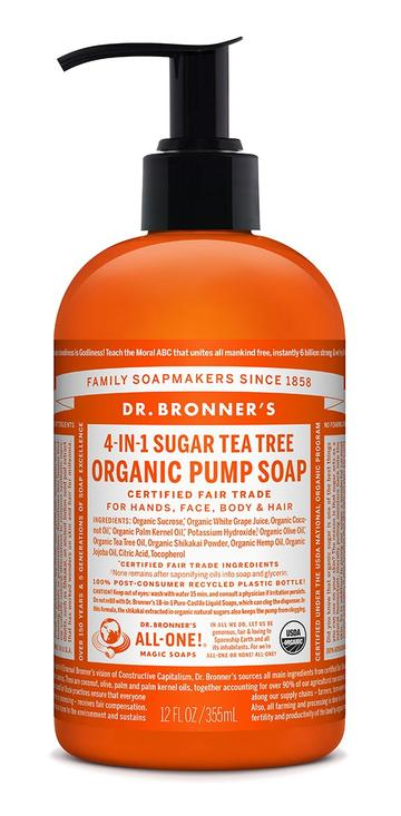DR. BRONNERS HAND & BODY PUMP SOAPS Tea Tree 1.89l
