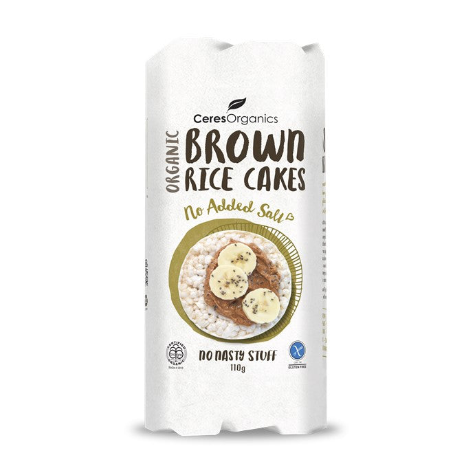 Ceres Organic Brown Rice Cakes - No Added Salt  G/F  110g