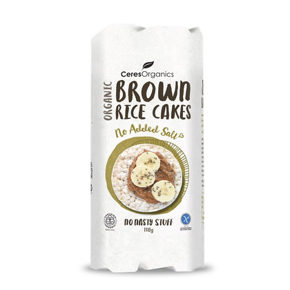 CERES ORGANICS Ceres Organic Brown Rice Cakes - No Added Salt  G/F  110g