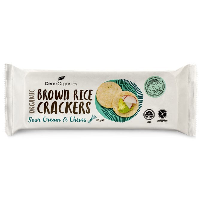 Ceres Organic Brown Rice Crackers w/ Sour Cream & Chives  115g