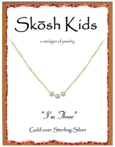 Gold Kids I'm Three Necklace