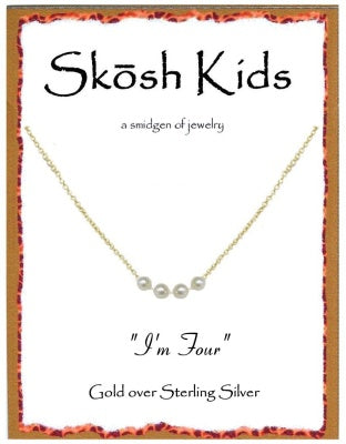 Gold Kids I'm Four Necklace