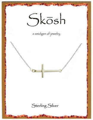 Silver Polished Sideways Cross Necklace