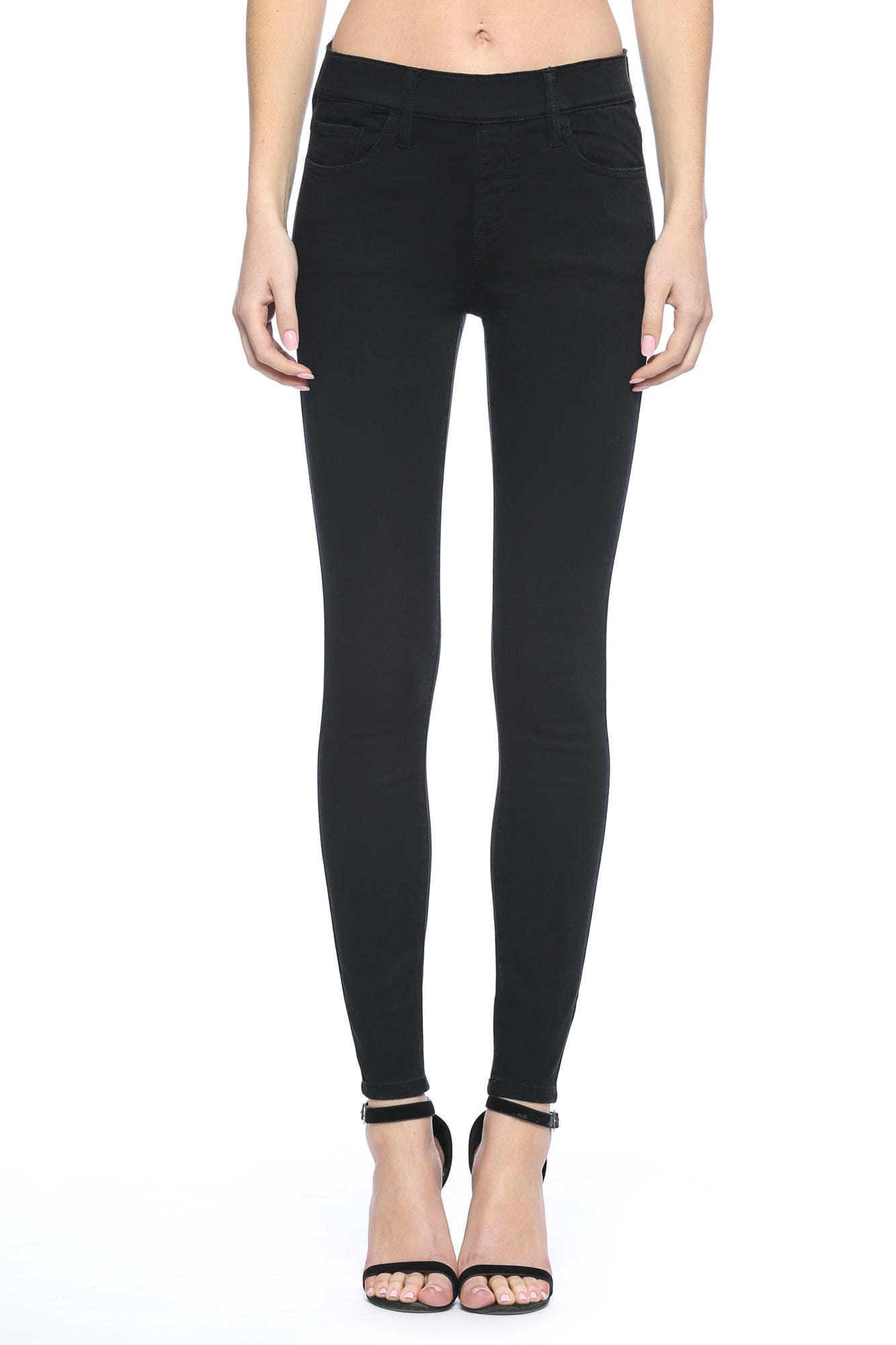 Mid Rise Pull On Black Crop Skinny Jeggings