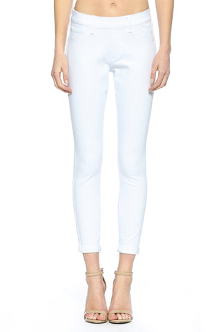 Mid Rise Double Rolled Cuff Pull on Crop Skinny