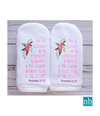 Proverbs 31:25 She is Clothed Socks