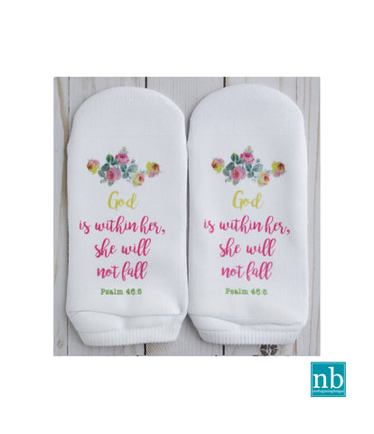 Psalm 46:5 God is within her,she will not fall Socks