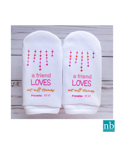 Proverbs 17:17 A Friend Loves at all Times Socks