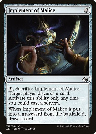 Implement of Malice [Aether Revolt] | Dragons Den Cards & Games