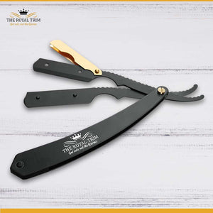 Gold and Matte Black Straight Razor