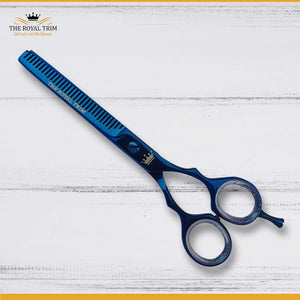Plasma Coated Metallic Blue Thinning Scissor