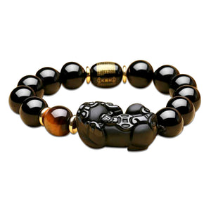 Natural Obsidian Lucky Pi Yao Wealth Bracelet