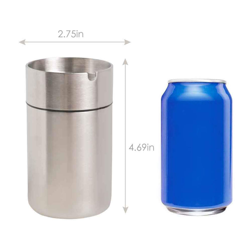 [AUSTRALIA] - JOCHA Ashtray, Outdoor Windproof Stainless Steel Car Ashtrays, Cigarette Ashtray for Car or Outdoor Use, Ash Holder for Smokers, Windproof Automatically Extinguished Ash Tray (Silver) Silver