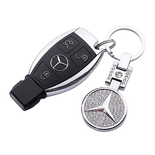 [AUSTRALIA] - AutoDIY Mercedes Benz car Keychain Car Logo Key Ring 3D Metal Emblem Pendant Double Side Zircon Crystal Decoration Lanyard Keychains Accessories for Gifts (Benz)