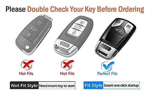 [AUSTRALIA] - Tukellen for Audi Key Fob Cover with Keychain, Special Soft TPU Key Case Cover Protector Compatible with Audi A4 Q7 Q5 TT A3 A6 SQ5 SQ7 R8 S5 Smart Key(Silver) With keychain Silver
