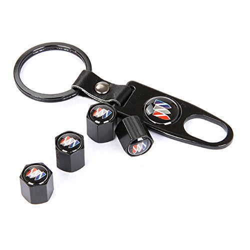 [AUSTRALIA] - CzlpV Black Car Wheel Tire Valve Caps Tyre Stem Air Caps Keychain Styling For Buick