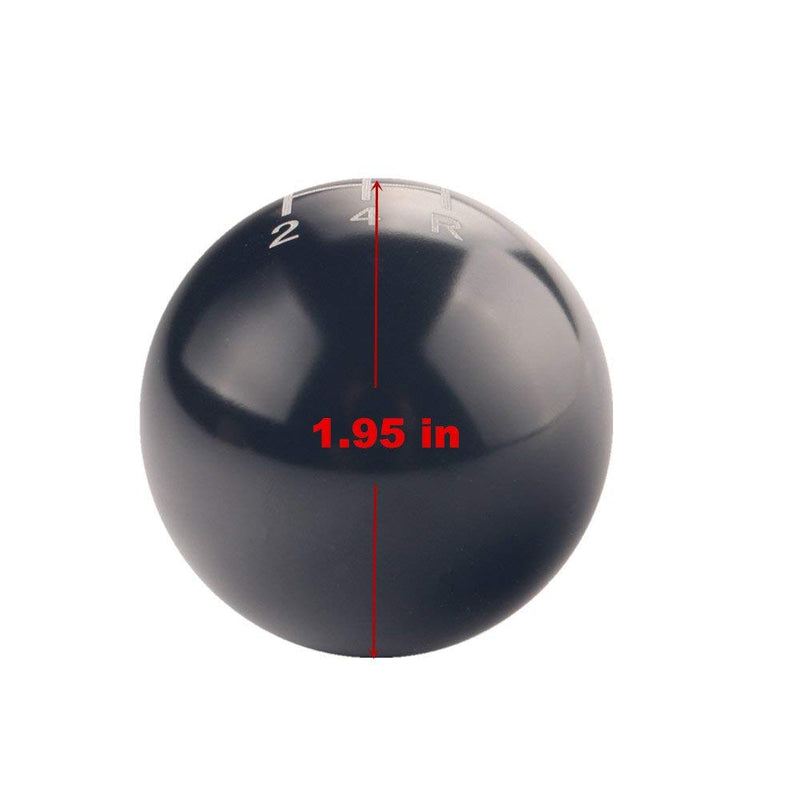 [AUSTRALIA] - DEWHEL Round Ball Manual Gear Stick Shift Knob 5 Speed Short Throw Shifter Selector M10x1.25 Aluminum Screw On for Nissan Mazda Mitsubishi (Black) Black