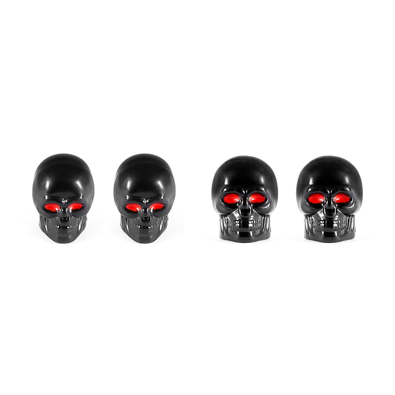 [AUSTRALIA] - Dsycar Black Skull Style Antirust Copper Core Motorcycle Bike Car Tires Valve Stem Caps, 4Pcs/Box