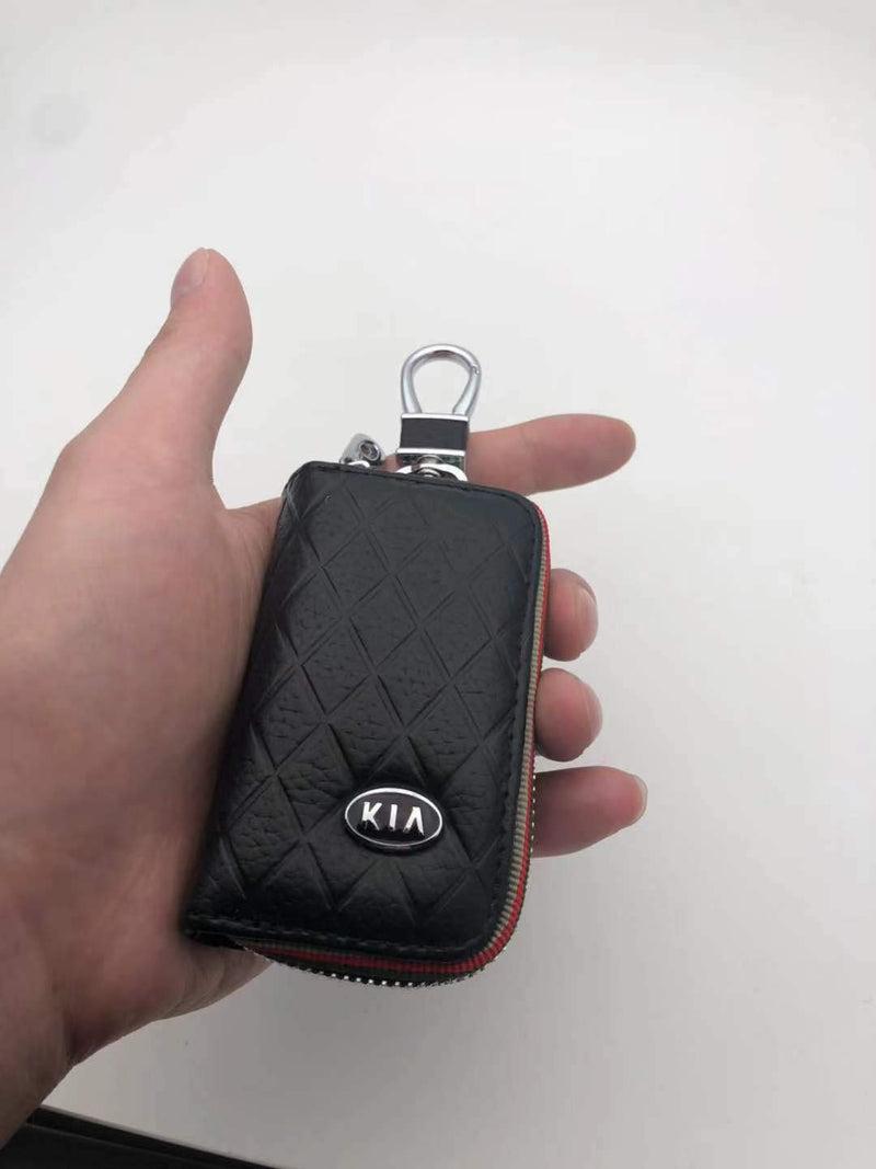 [AUSTRALIA] - DEFTEN 2019 The New Kia Premium Leather Car Key Chain Coin Holder Zipper Case Remote Wallet Bag for K2 K3 K4 K5 is Suitable for All Kia Models (Black)