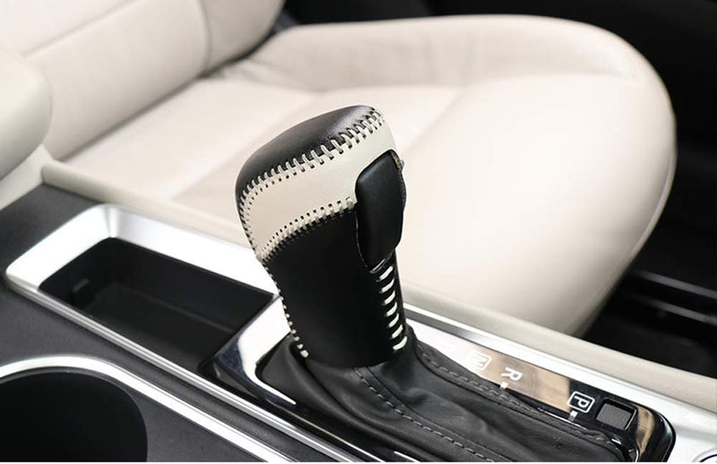 [AUSTRALIA] - Salusy Black and Gray Hand Sewing Leather Gear Shift Knob Cover Compatible with Nissan Altima Sedan 2019