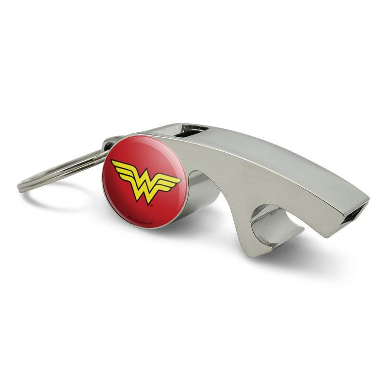 [AUSTRALIA] - Wonder Woman Classic Logo Keychain Chrome Plated Metal Whistle Bottle Opener