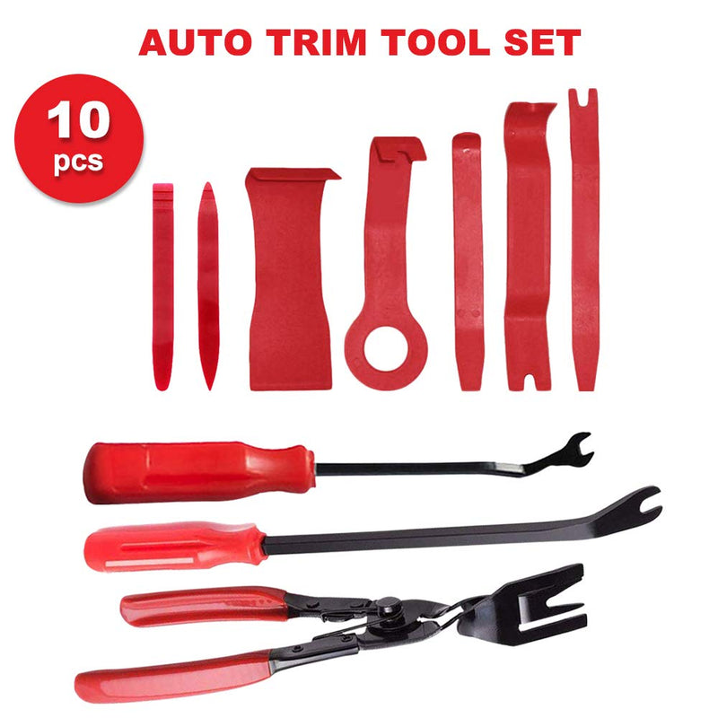 [AUSTRALIA] - 10 Pcs Auto Trim Removal Tool Set with Fastener Removers Strong Nylon Door Panel Tool for Car Panel Dash Audio Radio Removal Installer and Repair Pry Tool