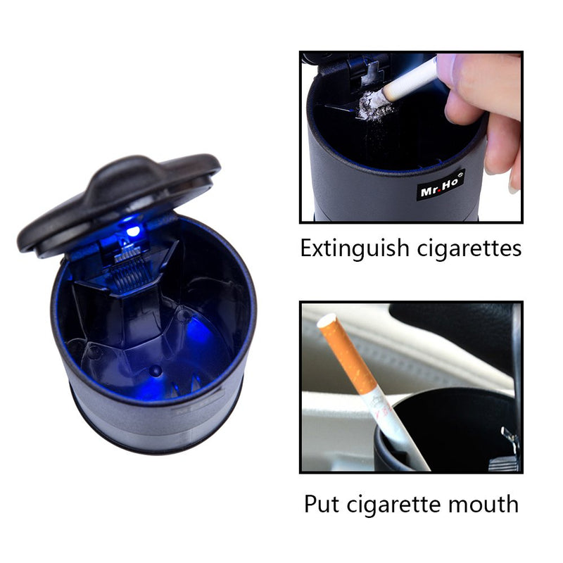 Mr.Ho Car Cigarette Ashtray Portable Travel Auto Smokeless Tobacco Tray with Blue LED Indicator Smokeless for Universal Car Cup Holder (Black) Black - LeoForward Australia