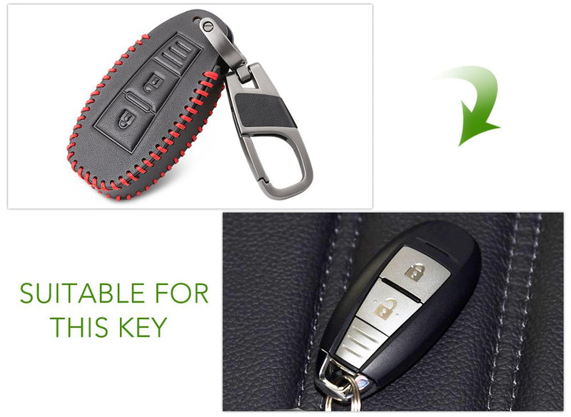 [AUSTRALIA] - Thie2e 2 Button Leather Car Remote Key Fob Shell Cover Case Fit for Suzuki Vitara Swift Ignis Kizashi SX4 Baleno Ertiga 2016 2017 2018