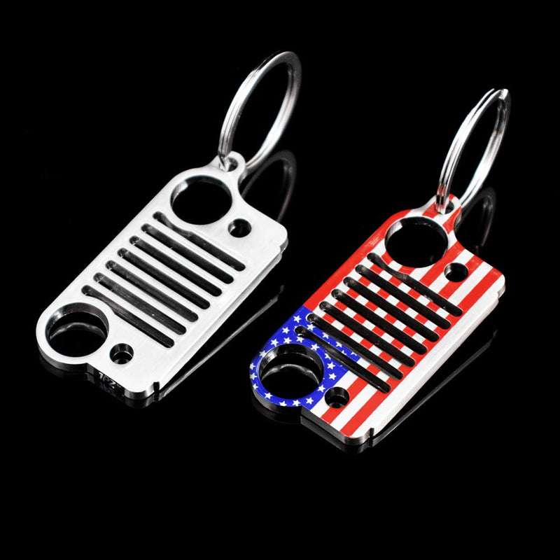 [AUSTRALIA] - 1PZ JWK-SA1 Jeep Grille Key Chain Keychain Accessories Laser Cut 304 Stainless Steel Key Ring Wrangler Grand Cherokee Compass Renagade Patriot CJ, JK, JKU, TJ, YJ, XJ (American Flag & Silver)