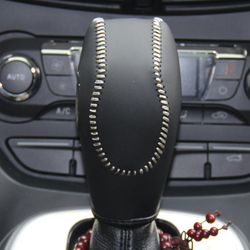 [AUSTRALIA] - JI Black Genuine Leather Gear Shift Knob Cover for 2012 2013 2014 2015 2016 Ford Focus / 2014 2015 2016 Ford Fiesta / 2013 2014 2015 2016 Ford Fusion S,Ford Fusion SE / 2013 2014 2015 2 Black Leather Light Gray Thread