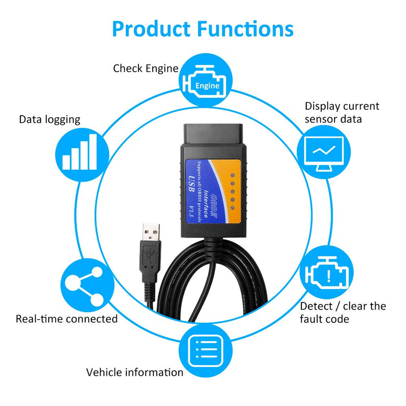 [AUSTRALIA] - VDIAGTOOL Code Reader ELM327 USB Interface V1.5?Version Read and Clear Fault Trouble Codes Check Engine Light OBD2 OBDII Car Auto Scanner Diagnostic Scan Tool Cable for Laptop PC Windows 7 XP 32 bit