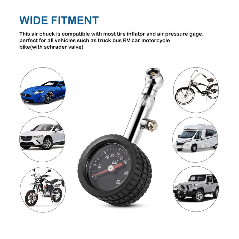 [AUSTRALIA] - CZC AUTO Heavy Duty Tire Pressure Gauge, ANSI B40.1 Accurate Mechanical Air Gage, Chrome Plated Brass Stem Rotating Single Chuck Dial Wheel Pressure Tester for Motorcycle Bike Car RV Bicycle, 0-60PSI