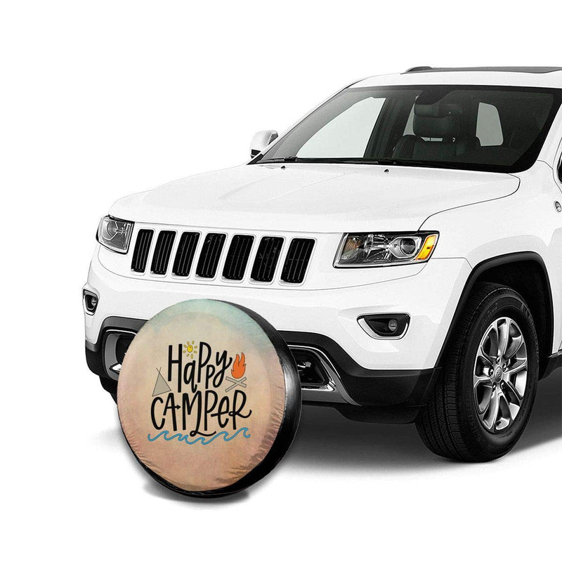 Uktly Happy Camper Spare Tire Cover for RV Jeep Wrangler Trailer 14 15 16 17 Inch Wheel Tire Covers Weatherproof Dust-Proof and Corrosion Protection 14'' for diameter 23''-27'' - LeoForward Australia