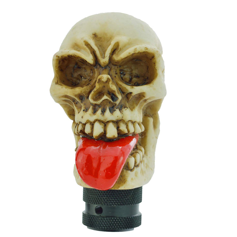 [AUSTRALIA] - Bashineng Skull Gear Shifter Knob, Devil Head Shape Stick Shift Knobs for Universal Manual Truck SUV Car (Beige+Red) beige+red