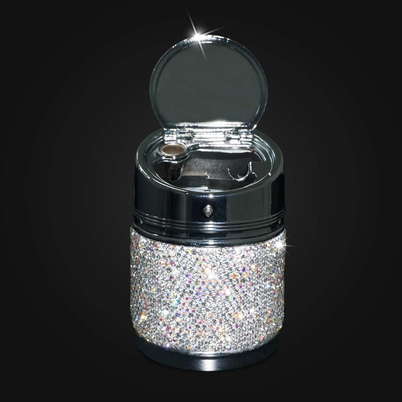 eing Portable Auto Car Cigarette Ashtray Ash Bling Crystal Smokeless Stand Cylinder Cup Holders,Silver B1-Silver - LeoForward Australia