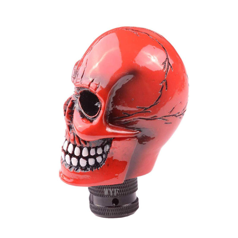 [AUSTRALIA] - WYF Universal Shift Knob Skull Gear Stick Skull Skull Resin Gear Shifter Knob Lever Cover for Most Manual or Automatic Transmission Without Button (Red)