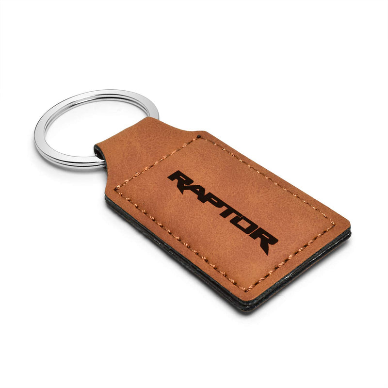 [AUSTRALIA] - iPick Image - Ford Rectangular Brown Leather Key Chain - F-150 Raptor 2017 to 2019