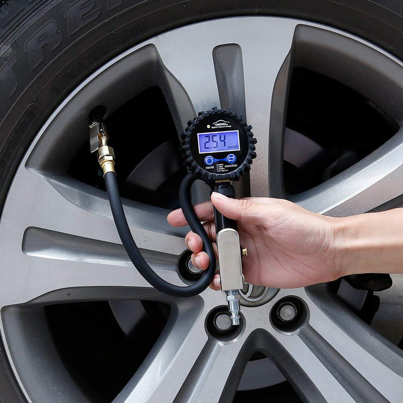 [AUSTRALIA] - Digital tire Pressure Gauge with inflator,Accurate 0.1 Display Resolution 235Psi Heavy Duty Air Chuck and Compressor Accessories with Rubber Hose and Quick Connect Plug for Truck,Cars and Motorcycle