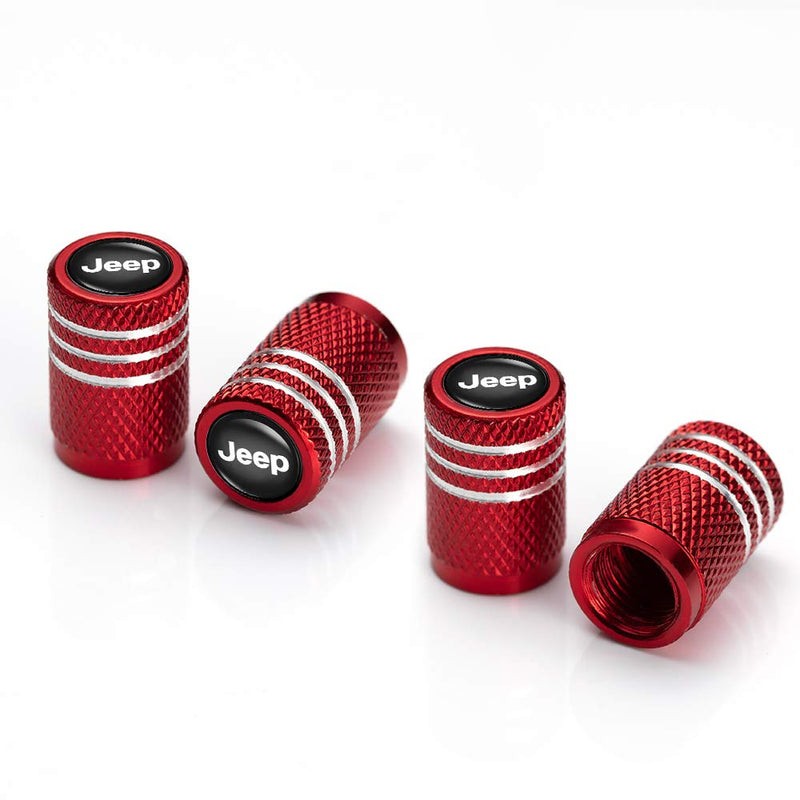 [AUSTRALIA] - IJUSTBY 4 Pcs Metal Car Wheel Tire Valve Stem Caps for Chrysler Jeep Grand Cherokee Wrangler Compass Cherokee Renegade Patriot Grand Comander Logo Styling Decoration Accessories. Red 6