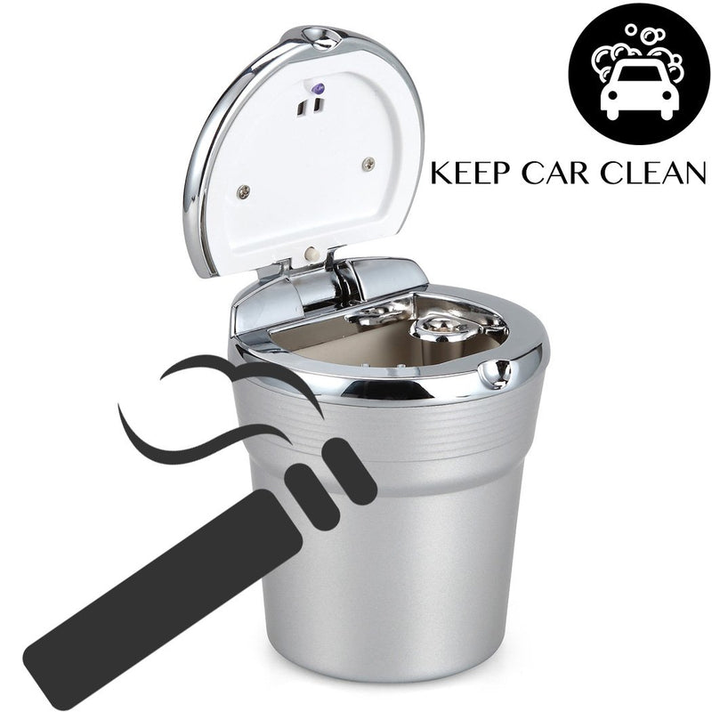 VIMVIP Portable Stainless Auto Car Cigarette Ashtray Ash with Blue LED Light Smokeless Stand Cylinder Cup Holder - LeoForward Australia