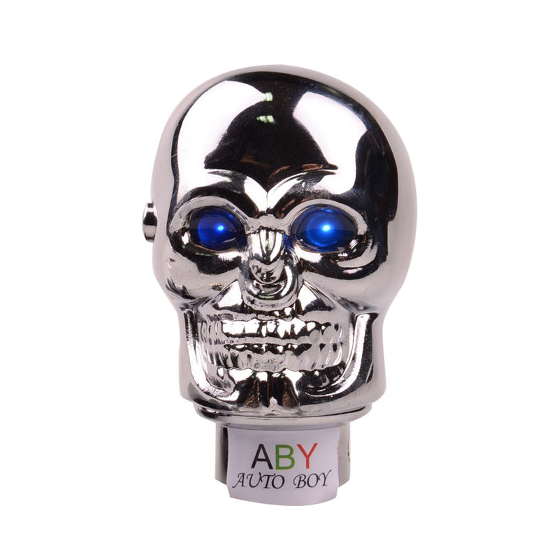 [AUSTRALIA] - ABy Skull Shape Auto Car Aluminium Alloy Gear Stick Shift Shifter Lever Knob with Blue Led light For Car Manual Transmission and Automatic Transmission Without Lock Button