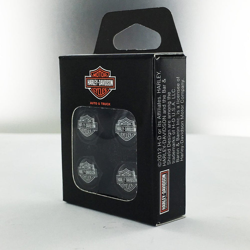 [AUSTRALIA] - Harley-Davidson Black Valve Cap Covers with Traditional Bar & Shield