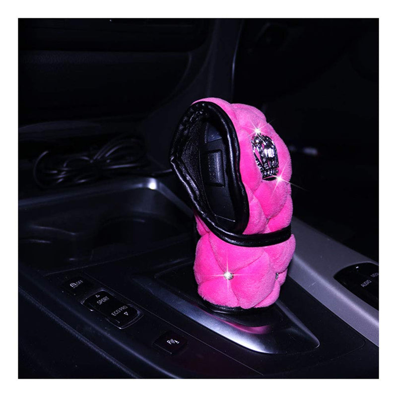 [AUSTRALIA] - Siyibb Soft Plush Car Gear Shift Cover Crystal Crown Car Styling - Pink Pink 1
