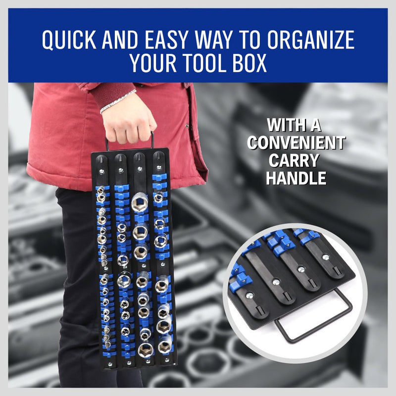 [AUSTRALIA] - HORUSDY 80-Piece Heavy Duty Socket Organizer, 1/4-Inch, 3/8-Inch, 1/2-Inch, Premium Quality Socket Holders - Best Unique Tool Gift for Men