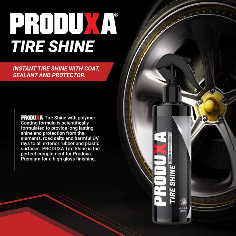 [AUSTRALIA] - PRODUXA Premium Tire Shine Spray - High Endurance Tire Dressing, Professional Polymer Sealant, Protective Coating, Car Care Detailing Polish, 8 oz
