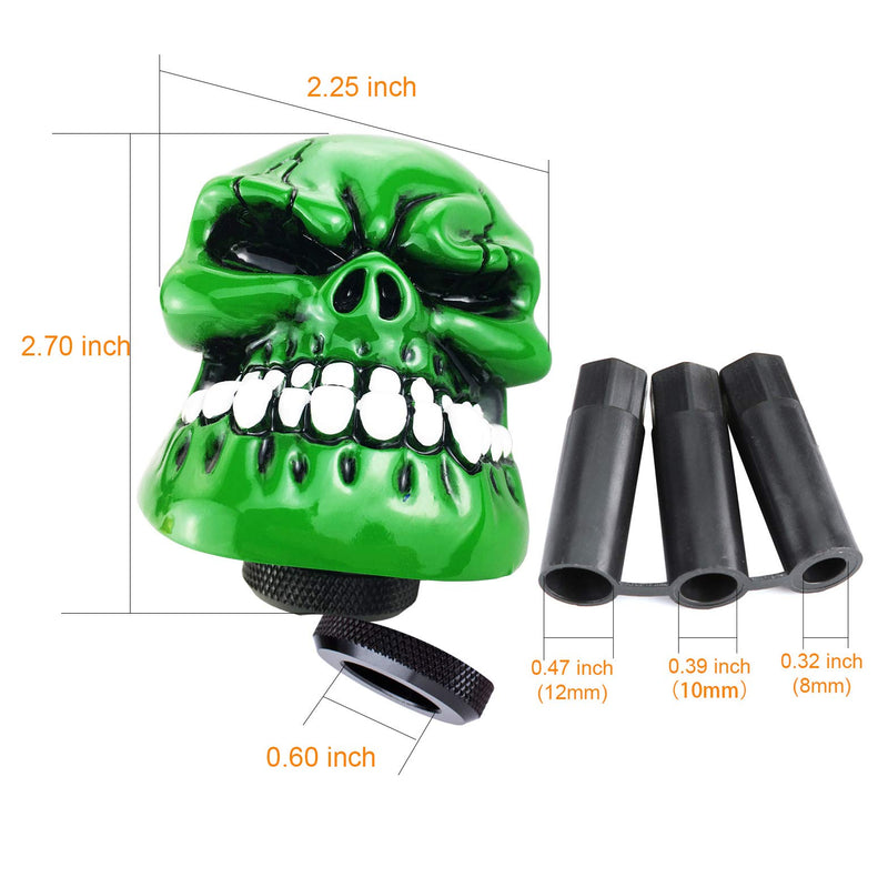 [AUSTRALIA] - Arenbel Skull Shifting Knob Gear Stick Shift Knobs Car Shifter Handle fit Universal Manual Automatic Vehicles, Green