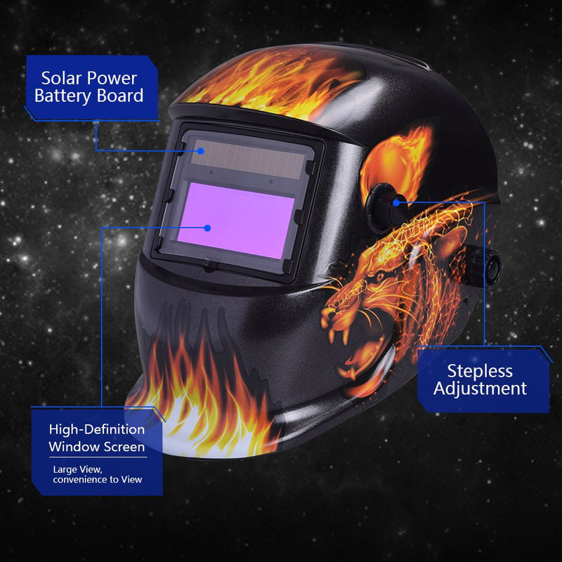 [AUSTRALIA] - Nuzamas Solar Powered Auto Darkening Welding Helmet Mask Weld Face Protection for Arc Tig Mig Grinding Plasma Cutting with Adjustable Shade Range DIN4/9-13 UV/IV protection DIN16 Leopard and Fire