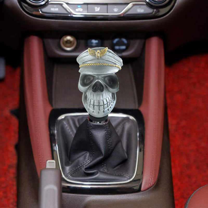 [AUSTRALIA] - Arenbel Skull Gear Stick Knob Manual Shift KInobs Lever Shifter Hwad with Military Cap fit Most Transmission Cars, Silver
