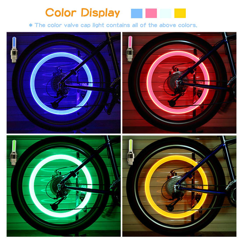 MOAMUN 140 PCS Led Flash Tyre Wheel Valve Stem Cap Light Set for Car Bike Bicycle Motorcycle Automatic Wheel Spoke Light Tire Lights Lamp Bulb Car Accessories - LeoForward Australia